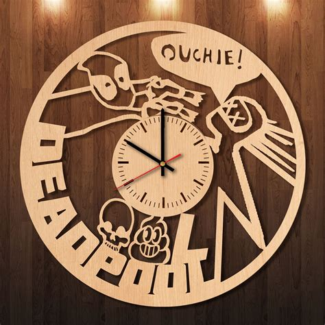 Handmade Clock - deadpool guns handmade wood wall clock for comics