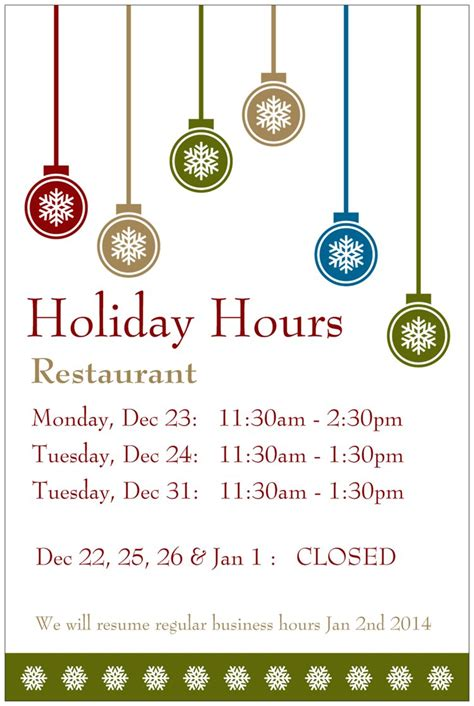 Holiday Hours Of Operation Sign Template Lifehacked1st Com Hours Template