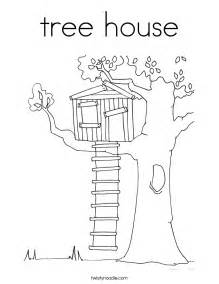 coloring page of a tree house search