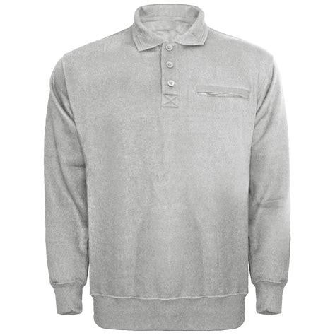 new mens plain collared button polo sweatshirt jumper