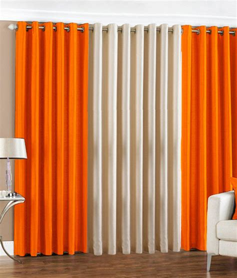 cream orange curtains pindia set of 3 long door eyelet curtains buy pindia set