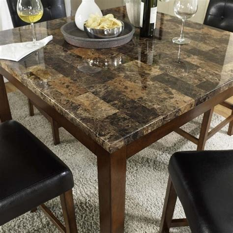 5 Piece Faux Marble Top Counter Height Dining Set Da7241 Marble Table Dining Set