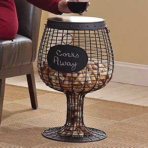 barrel cork catcher accent table wine glass cork catcher accent table wine enthusiast