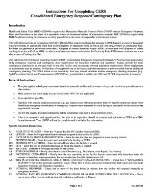 Cers Emergency Response Contingency Plan Fill Online Printable Fillable Blank Pdffiller Hazmat Emergency Response Plan Template