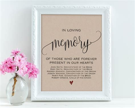 memory poem template in loving memory wedding signs personalized sign memory