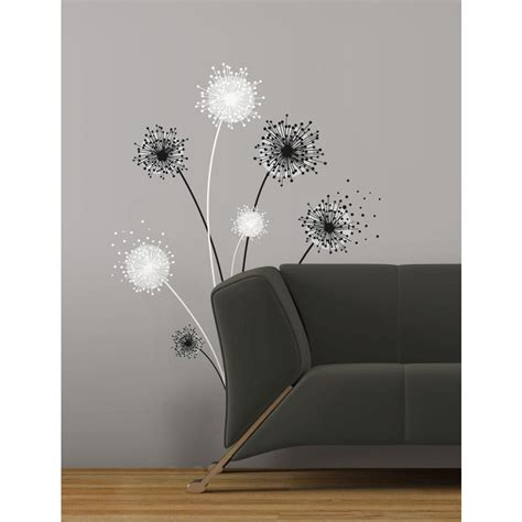 peel and stick wall decals dandelion peel and stick giant wall decal