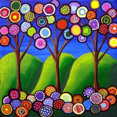 whimsical trees blossoms folk art giclee by