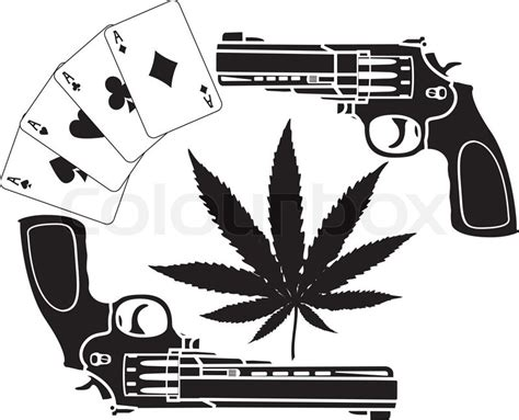 cards hemp and two pistols stencil vector illustration