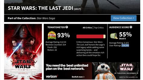 a wars story rotten tomatoes the rotten tomatoes score for quot the last jedi quot may be