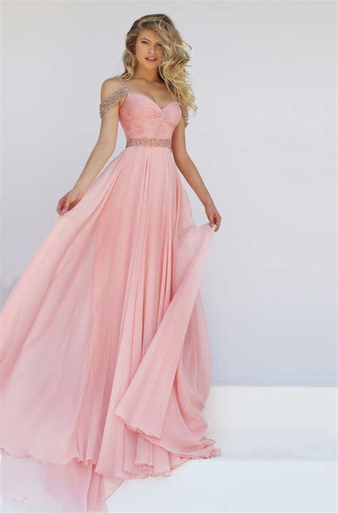 The Shoulder Chiffon Dress charming the shoulder blush pink chiffon flowing