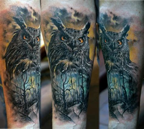 horned owl tattoo owl forest ideas