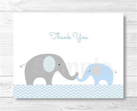 Blue Elephant Chevron Thank You Card Folded Card Template Thank You Cards For Baby Shower Templates