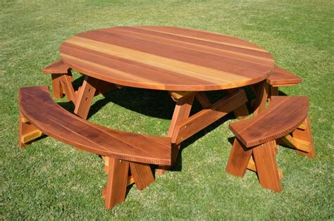 picnic bench table oval wood picnic tables built to last decades forever redwood