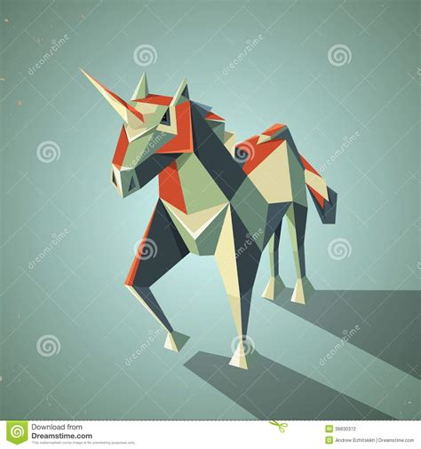 Three Dimensional Origami - three dimensional magic origami unicorn from stock