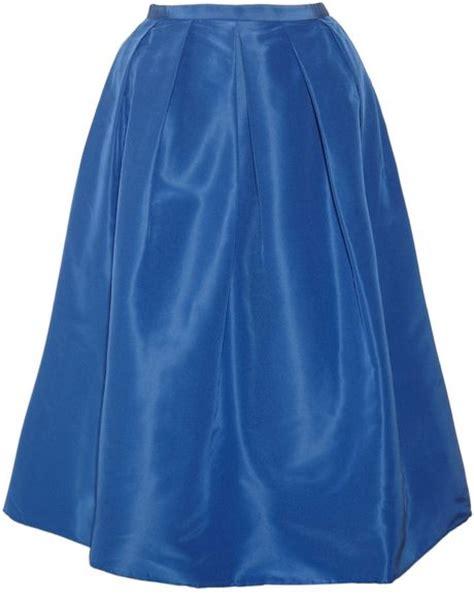 tibi silk faille midi skirt in blue lyst
