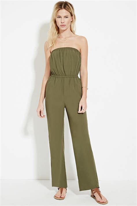 Jumpsuit Forever21 lyst forever 21 strapless jumpsuit in green