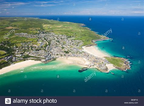 St Yves st ives coastline in summer cornwall united kingdom
