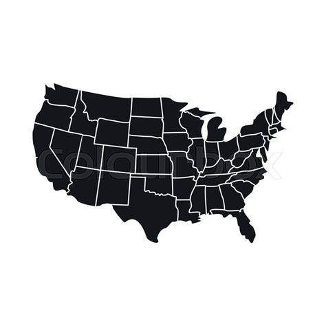 america map icon usa map with states icon black simple style stock