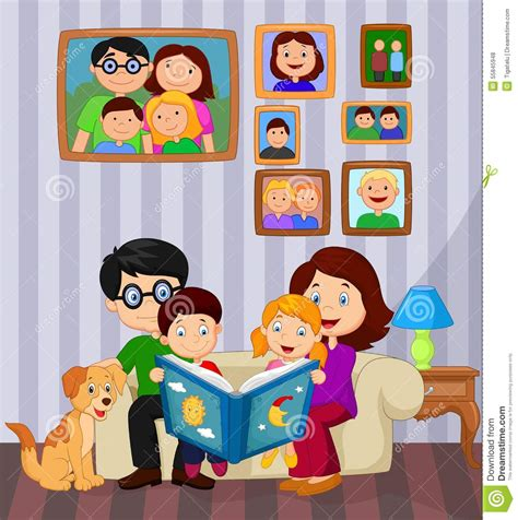 Xl Dog Sofa Cartoon Read A Story Book In The Living Room Stock Vector