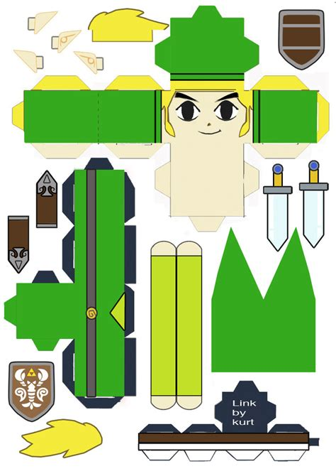 Papercraft Link - legend of link phantom hourglass cubeecraft by