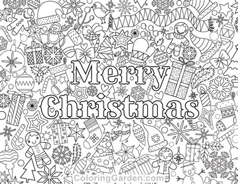 coloring pages christmas pdf free printable merry christmas adult coloring page