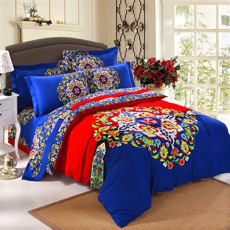 royal blue queen comforter set royal blue red and yellow colorful bohemian style folklore