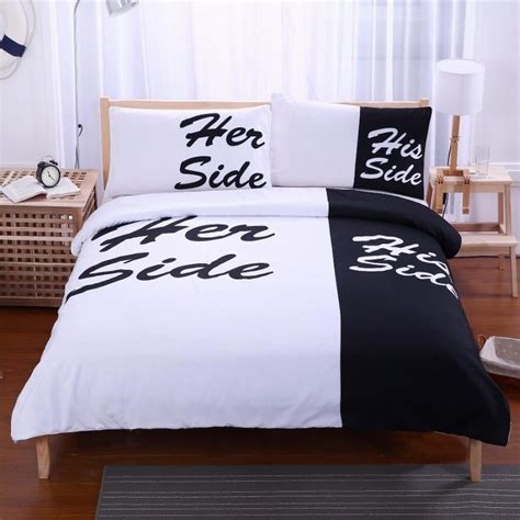 beddingoutlet black bedding set his her side home textiles