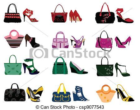 Doodle Slingbag vectors of shoes and bags on the white background
