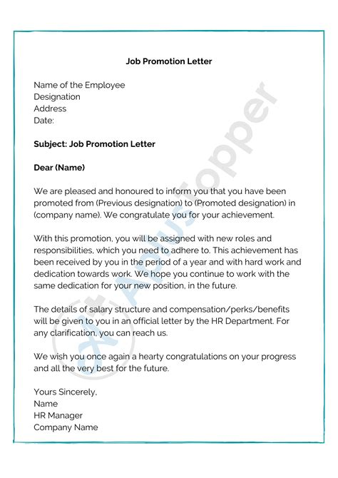 promotionletter formattemplatespromotionlettertoemployee