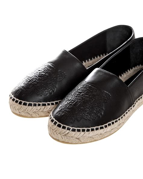 Kenzo Espadrilles Patent Leather Size 35 kenzo leather tiger espadrilles in black