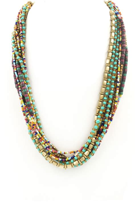 multi layer seed bead necklace necklaces