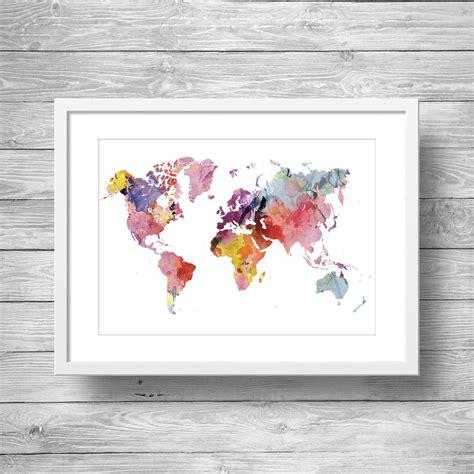 printable world map art rainbow watercolor world map printable wall art printable