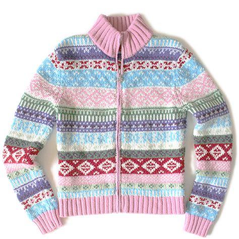 Promo Cardigan Kid Size M Kid Allsize pink zip front fair isle ski sweater the sweater shop