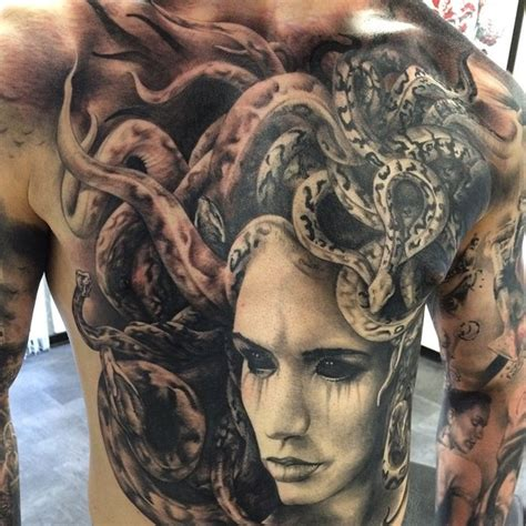large medusa on guys chest amp abdomen best tattoo design