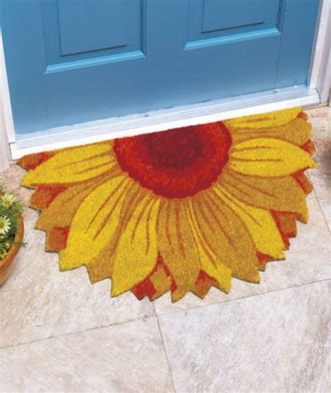 Flower Doormat - 18 quot x 30 quot floral shaped coir doormats wanello wants