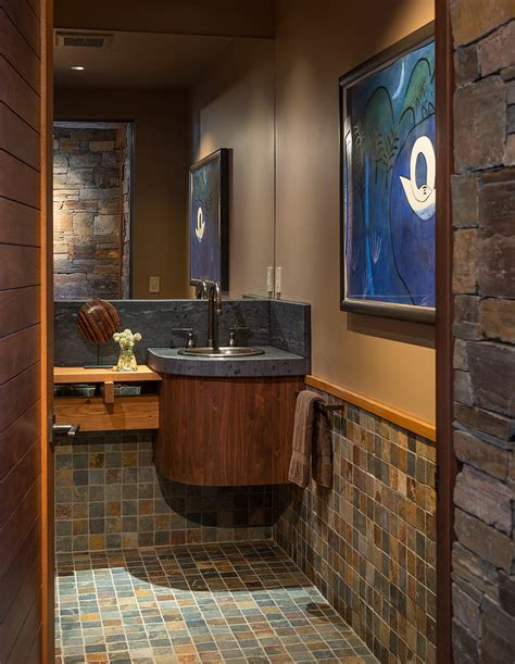 Tiled powder room ideas powder room contemporary with