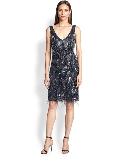 beaded blue dress theia beaded fringe dress in blue navy lyst