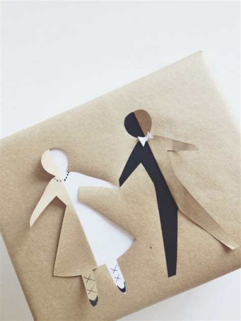 Wedding Gift Wrap Paper - the cutest and easiest diy paper doll bridal gift wrap weddingomania