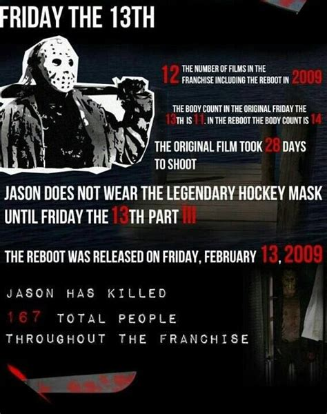 film seri friday the 13th friday the 13th film facts scary movie facts pinterest