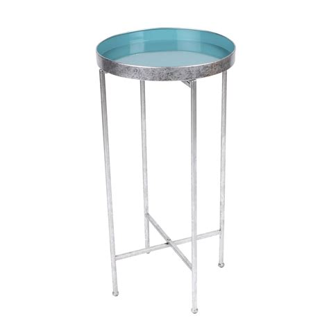round metal accent table kate and laurel deliah round metal accent table end table 1 silver green 208673