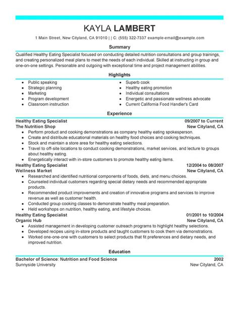 Resume Now Live Chat Food Specialist Resume Sle My Resume