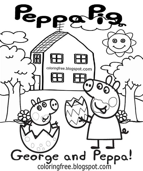 peppa pig easter coloring pages cute simple drawing ideas cartoon easter egg pictures