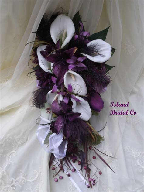 Bridal Bouquets For Sale by Cala Lilly And Plum Silk Wedding Flowers For Sale After