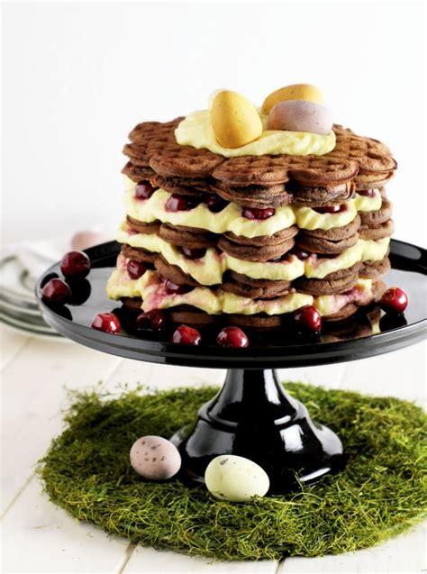 waffel kuchen waffle torte cake with vanilla and cherries eastern
