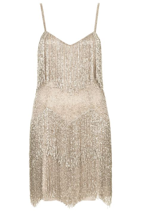 Topshop Beaded Fringe Tiered Dress By Kate Moss For Silver