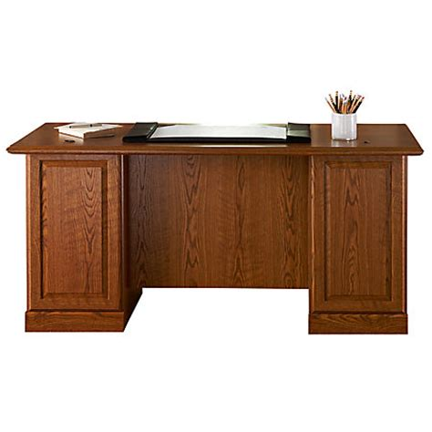 Sauder Orchard Hills Executive Desk Carolina Oak By Office Office Depot Executive Desk