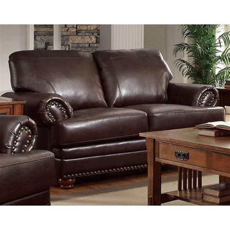 Brown Leather Sofa Loveseat by Coaster Colton 504412 Brown Leather Loveseat A