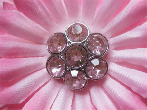 Gkm Flower Pink pepperlonely acrylic rhinestone buttons with shank for