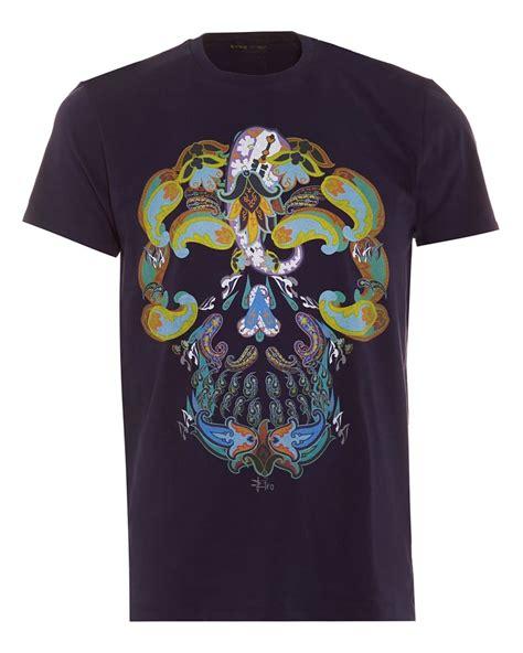 shirt design maker uk etro mens navy blue paisley skull graphic print t shirt
