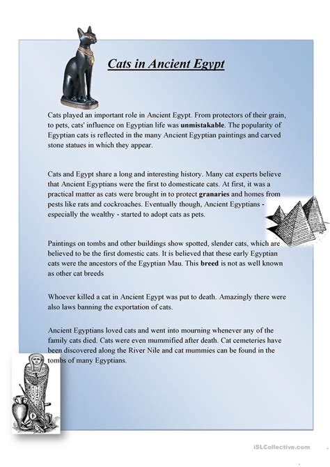 reading comprehension test online for cat cats in ancient egypt worksheet free esl printable